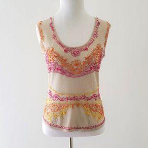 Akris embroidered silk knit tank pink orange 6